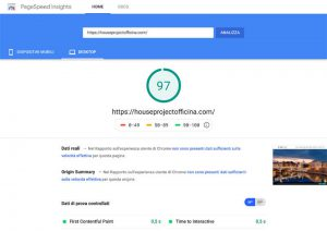 PageSpeed Insights desktop sito web house project officina